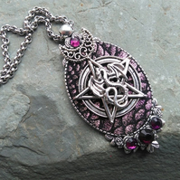 PRIVATE ORDER FOR TERESA DYE ... Dragon Pendant and Leather Cuff Purple
