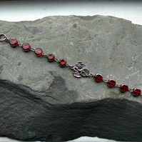 Dragon Bracelet with Ruby Red and Silver Beaded Links