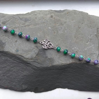 Dragon Bracelet with Green and Purple Bead Links
