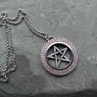 PRIVATE ORDER FOR JULIE ... Skull Earrings and Crystal Pentacle Pendant