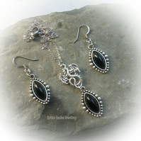 Open Winged Dragon Necklace and Earrings Set in Black