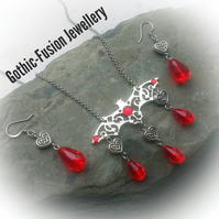 Filigree Bat and Celtic Heart Necklace and Earrings Set
