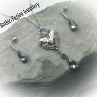 Victorian Gothic Bat Necklace and Earrings