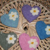 Hand felted Heart keyring or bag charm