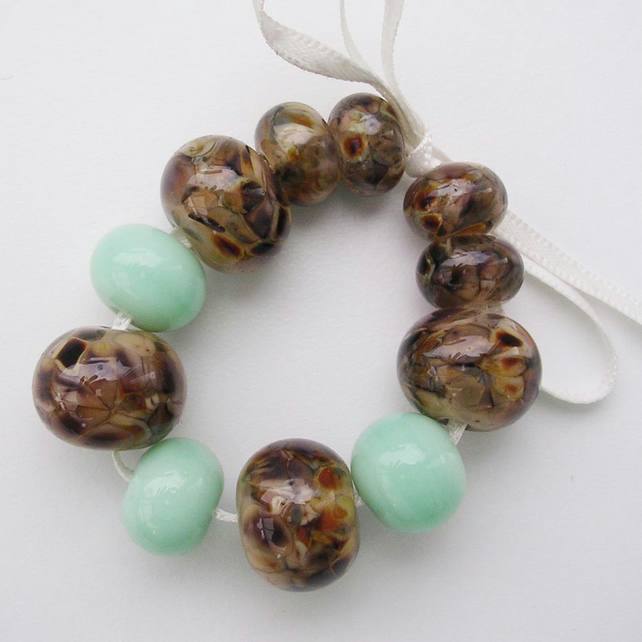 Mint brown - handmade lampwork glass beads - SRA