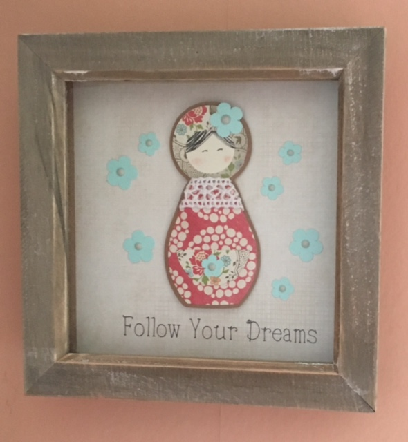 'Follow your Dreams' Folk Doll inspired layered picture