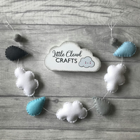 Cloud bunting, cloud decor, nursery decor, cloud and raindrop bunting