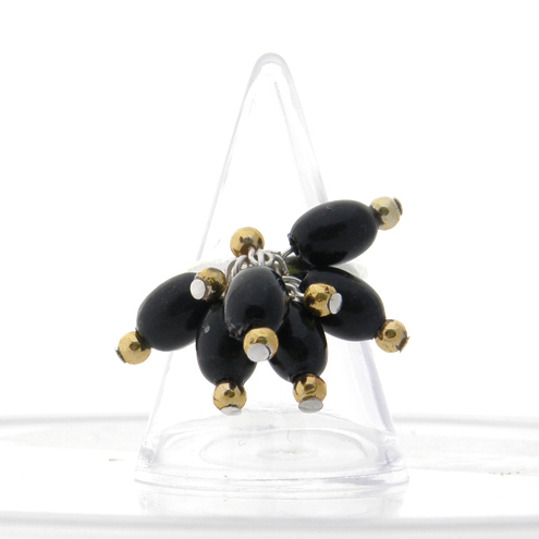 Black and gold bead ring