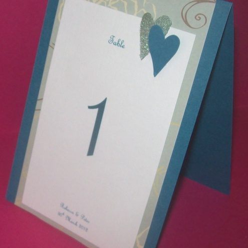 Double Hearts Combined Table Number and Menu Card ANY COLOURS