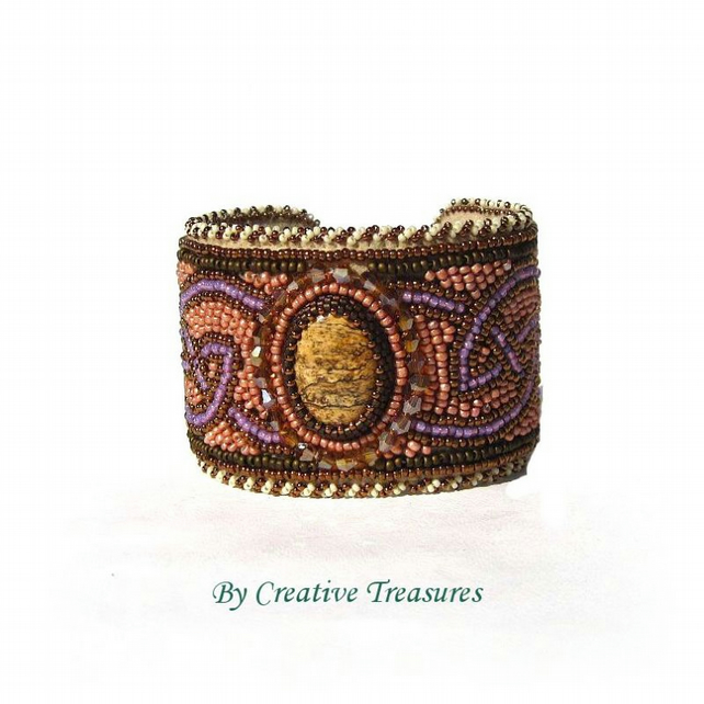 Celtic Knot Bead Embroidered Cuff