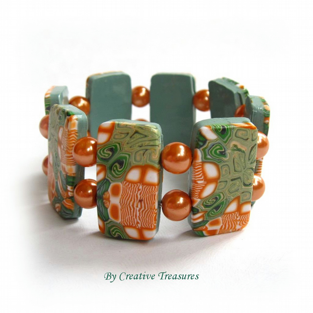 Orange and Green Polymer Clay Tile Bracelet