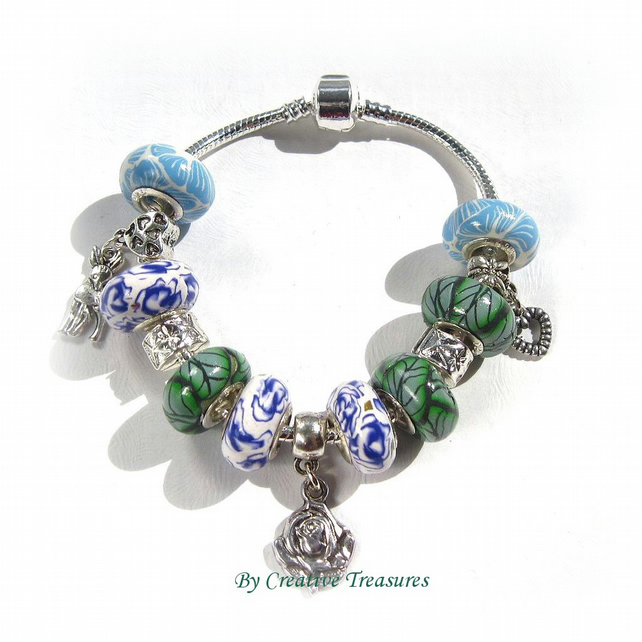 European Charm Bracelet with 6 Handmade Polymer Clay Beads