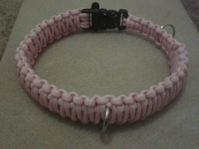 Pink paracord dog collar