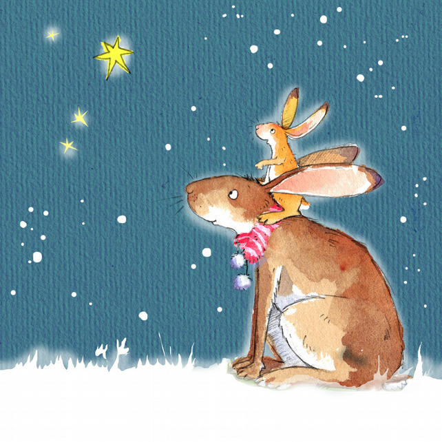 rabbits hares cute animal christmas card - Animal Christmas Cards