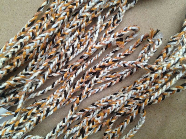 Woven bracelet: cream, ochre and brown