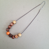 Leather & Wood necklace