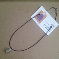 Leather & seaglass necklace