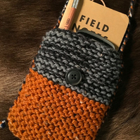 Hand knitted pouch