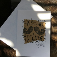 Handprint card: moustache