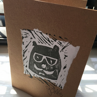 Handprint card: spectacle bear