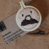 Moustachioed Man Embroidered Badge