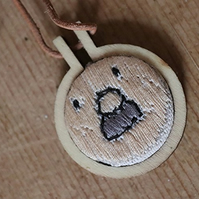 Moustachioed Man Embroidered Necklace