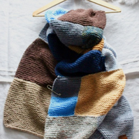 Hand-knitted patchwork scarf wrap
