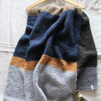 Hand-knitted scarf wrap
