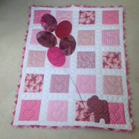 Baby Cot quilt Hand quilted  (Elle The Elephant)