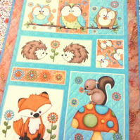 childs Owls & Foxes quilt ( Quillow) Woodland theme) hand quilted