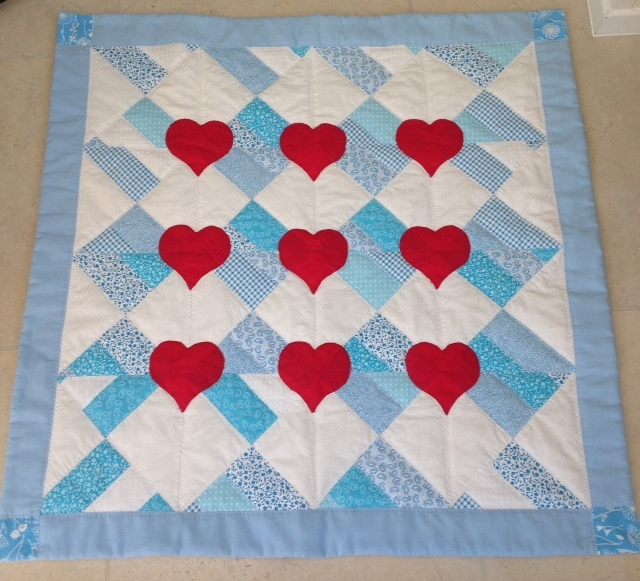 Nine of Hearts patchwork quilt