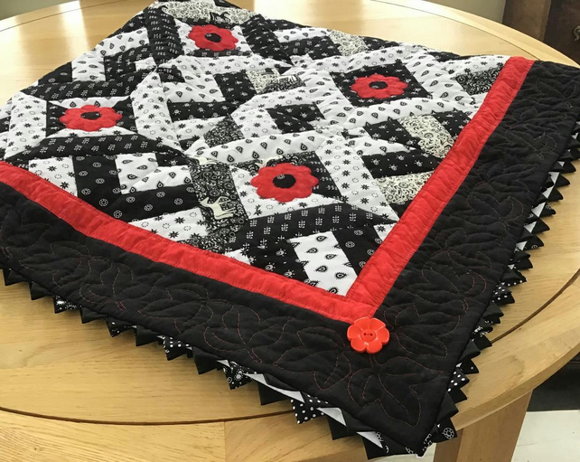 patchwork Poppies On Monochrome
