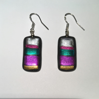 Brightly coloured striped earrings