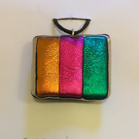 Brightly Coloured Stripey Pendant and Brooch