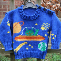 KNITTING PATTERN in pdf - Aliens in Space - Toddler's sweater