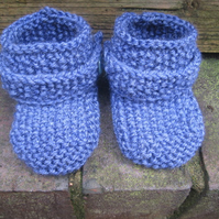 Denim Booties - Knitting PDF Pattern for Baby Booties