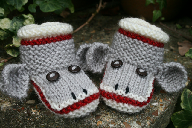 Knitting Pattern in PDF - Sock Monkey Baby Booties