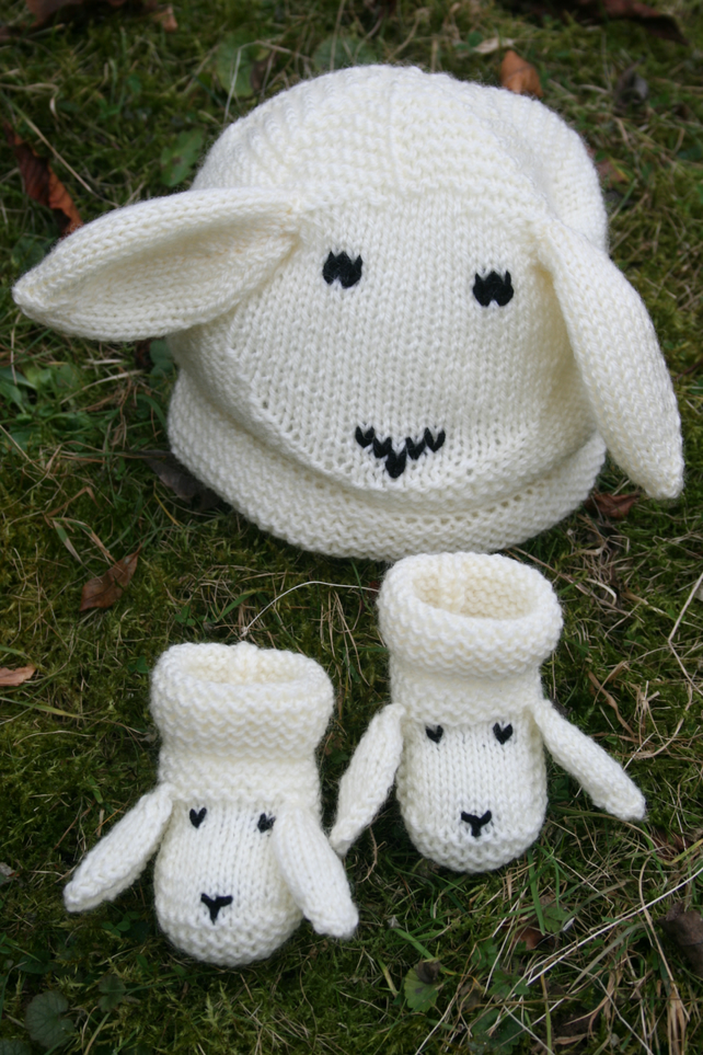 Knitting Pattern in PDF - Snugly Sheep Hat and Booties - for Babies