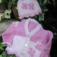 Flower Baby - Knitting Pattern in pdf for baby's cardigan and hat