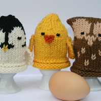 Owl, Chick and Penguin Egg Cosies - KNITTING PDF Pattern