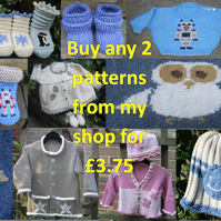 KNITTING PDF PATTERNS - Pattern Offer - Any two patterns for 3.75 pounds
