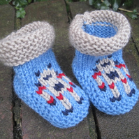 Robot Booties - Knitting Pattern in PDF for Baby's Booties
