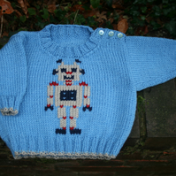 Robot Robert - Knitting Pattern in PDF for Baby's Jumper