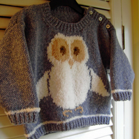 Oliver Owl - Knitting Pattern in pdf for a child's sweater