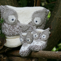 KNITTING PATTERN in pdf - Owl Baby Hat and Booties