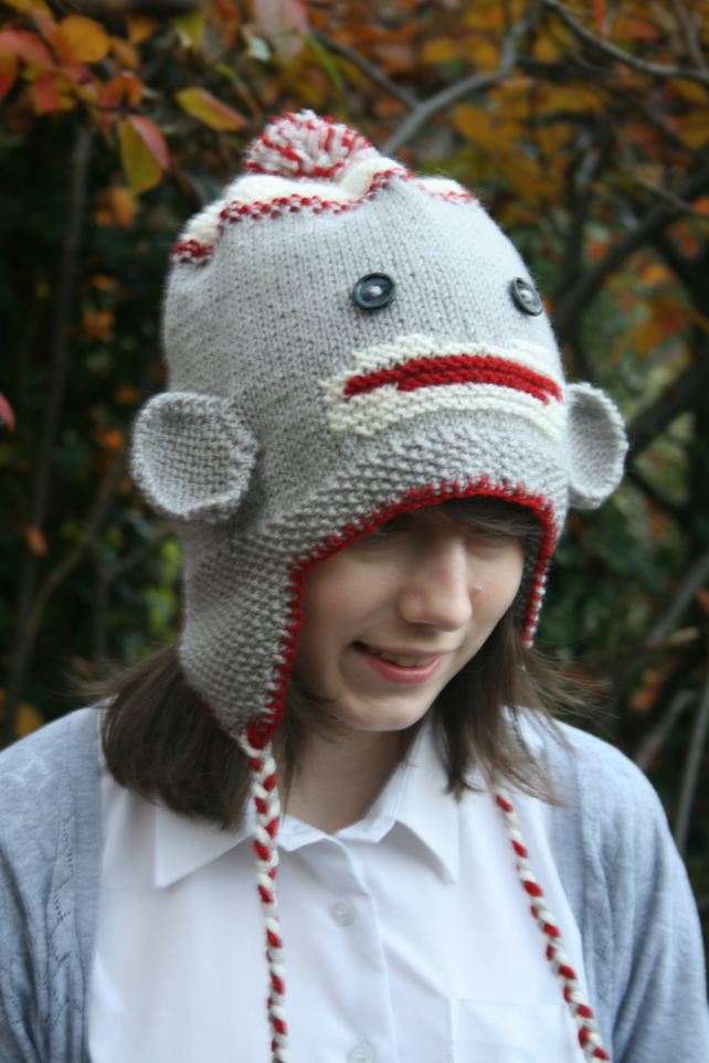 KNITTING PATTERN in pdf - Sock Monkey Hat with earflaps