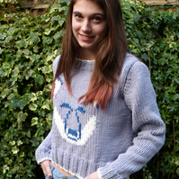 KNITTING PATTERN in pdf - Woodley Wolf Sweater - Teens and Women