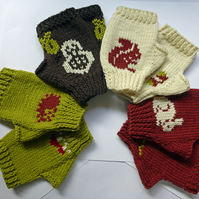 KNITTING PATTERN for Fingerless Mittens featuring 'Wee Woodlanders'