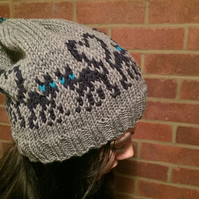 KNITTING PATTERN in pdf to make a 'Love Cats' Hat