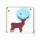 Stag Fused Glass Coaster, drinks mat, home decor, British countryside